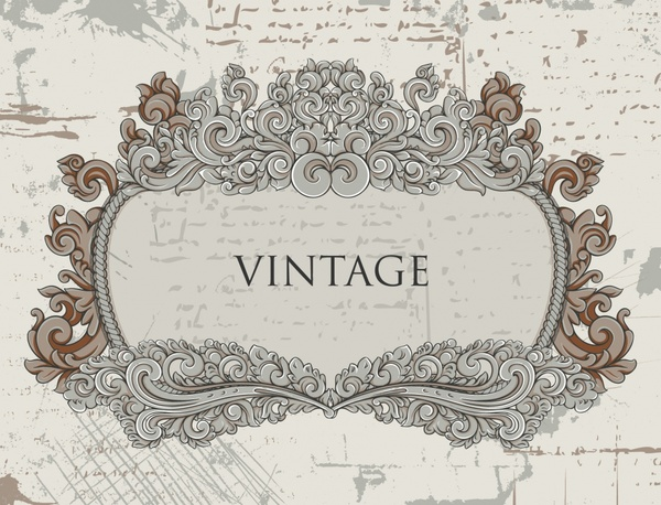 vintage label template elegant symmetric curved decor