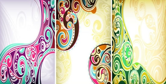 abstract pattern templates colorful classic doodle curves decor