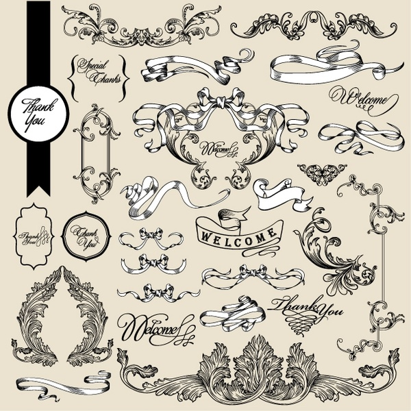 European Pattern Ribbon Vector Free Vector In Encapsulated Gorgeous Ribbon Pattern