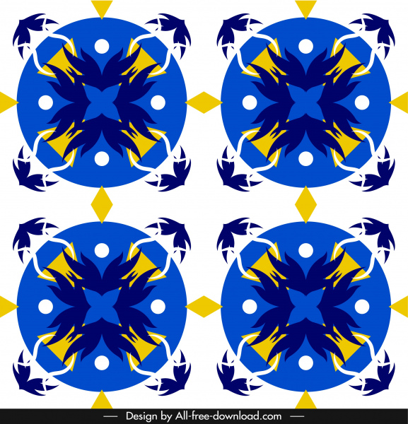 european pattern template colorful retro symmetric flat decor