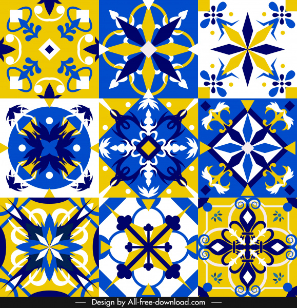 european pattern templates formal colorful symmetric shapes