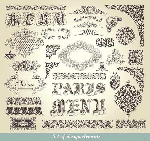 menu decor elements classical seamless curves sketch