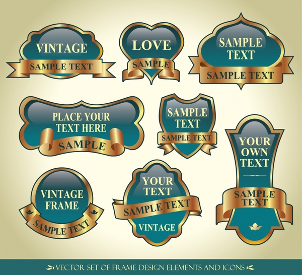 badge templates elegant shiny golden ribbon decor