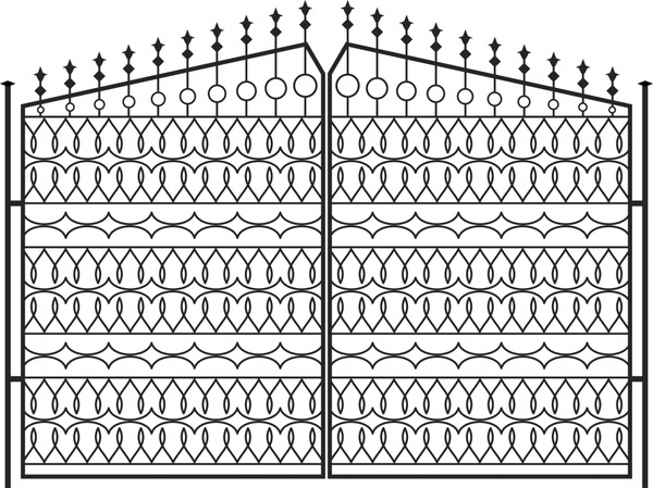 iron gate template classical elegant symmetric repeating shapes