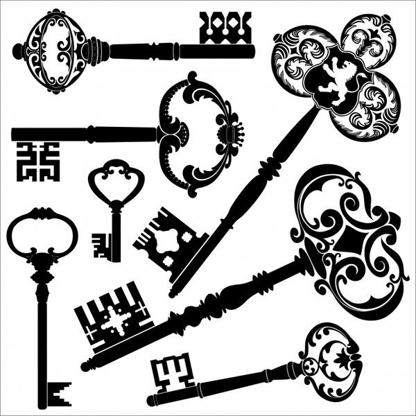 key templates black white flat retro shapes