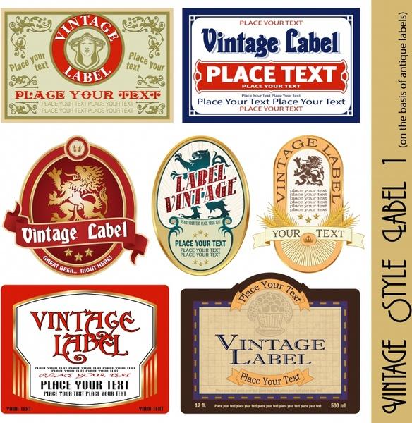 vintage labels templates colorful retro shapes