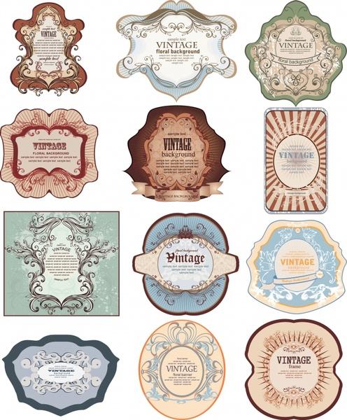 vintage labels templates elegant symmetric decor