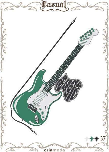 music poster guitar instrument icon retro design