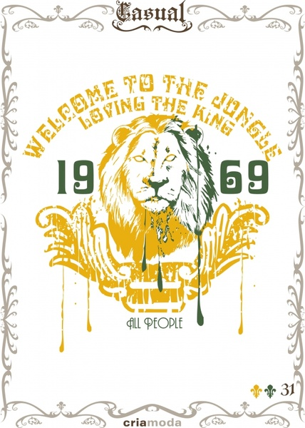 jungle advertising poster lion icon retro grunge decor