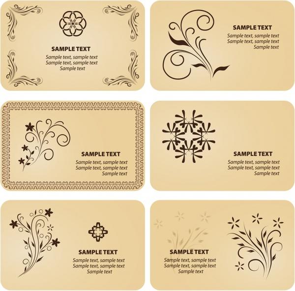 card templates classical decor curved symmetric design