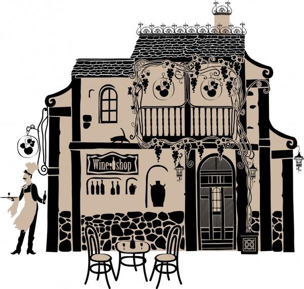 europeanstyle buildings painted artwork vector