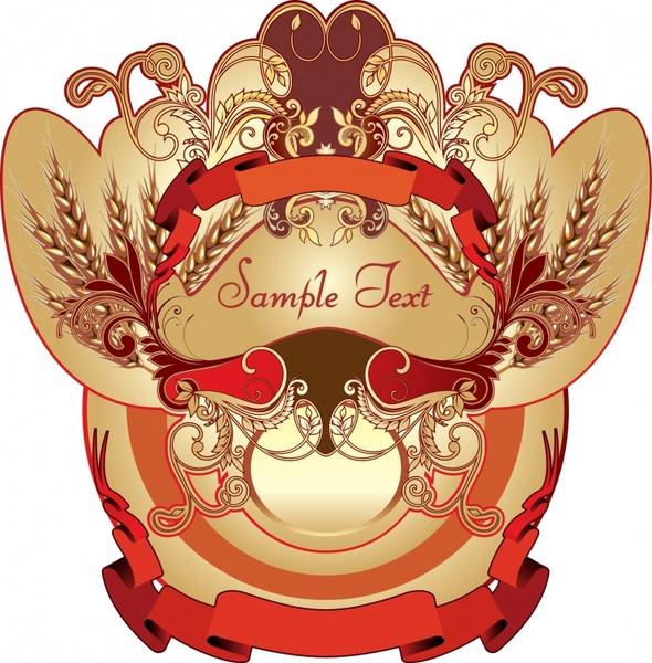label design element vintage elegant symmetric design ribbon decor