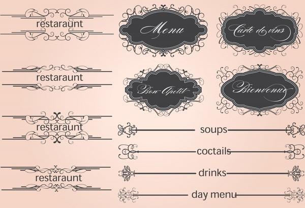 restaurant menu elements elegant classic decor symmetric shapes
