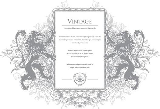 european frame template symmetric lions sketch
