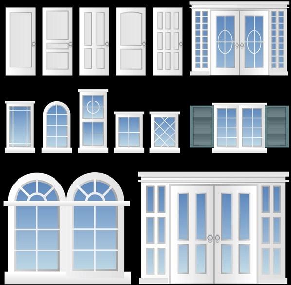 europeanstyle windows and doors vector