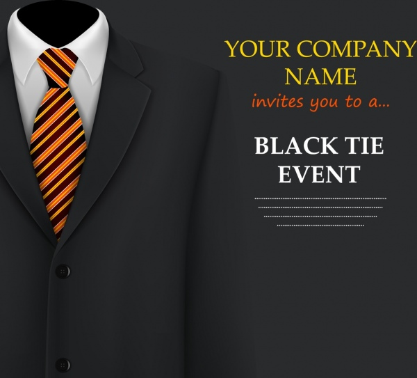 Event Invitation Card Template Suit Icon Black Background Free