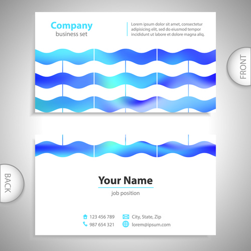 excellent business cards front back template vector - Back Of Business Card