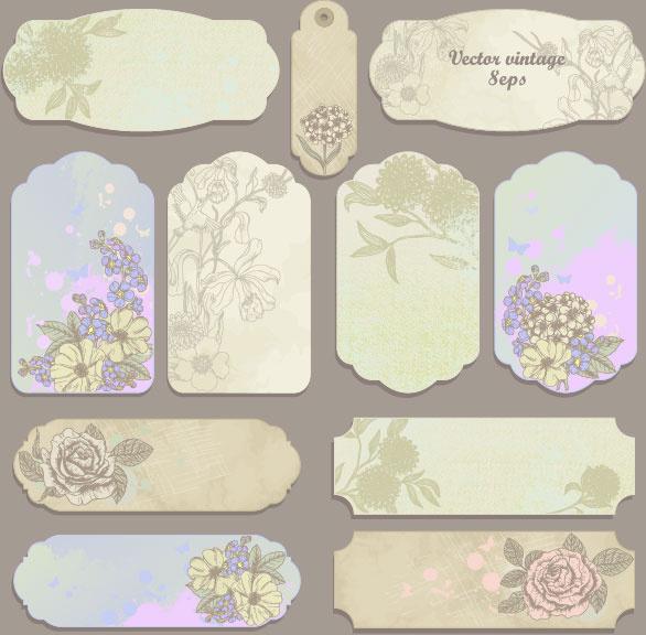 excellent vintage flower labels vector