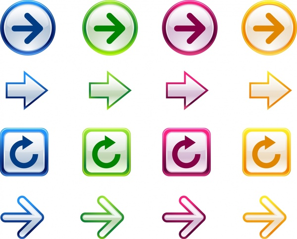arrow sign templates colorful flat shapes sketch