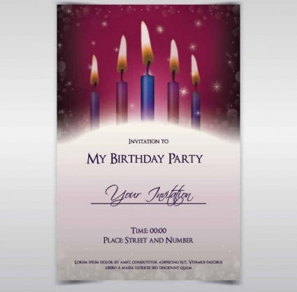 Exquisite Birthday Invitations Card Vector Free Vector In