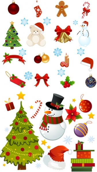 Exquisite Cartoon Christmas Ornaments Vector Free Vector In