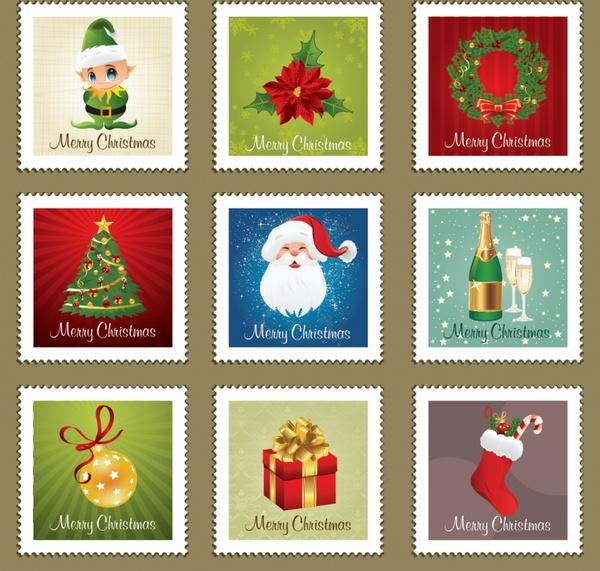 christmas stamps templates classical symbols decor