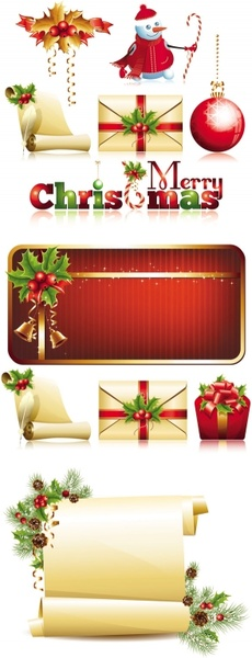 exquisite christmas ornaments vector