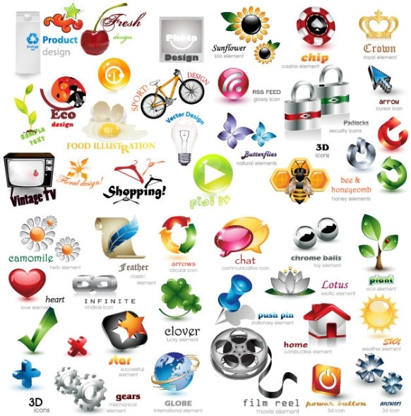 exquisite collection of threedimensional icon vector
