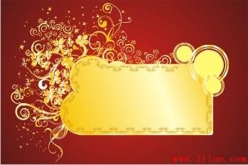 decorative background classical curves ornament red golden design
