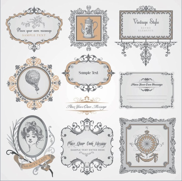 exquisite europeanstyle pattern label 03 vector