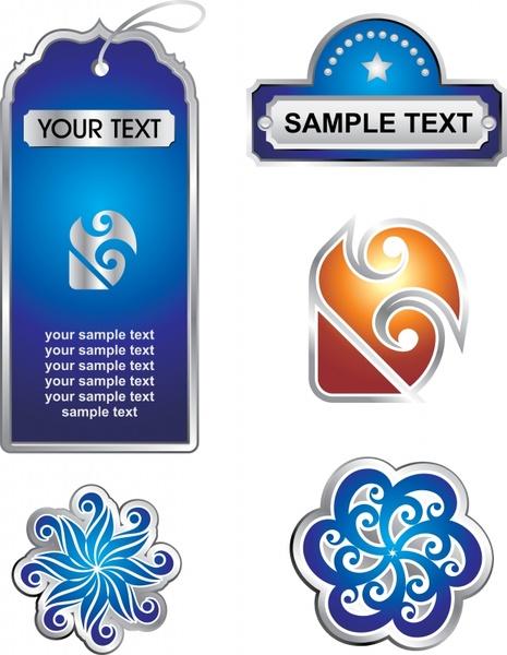 labels templates elegant swirled symmetric shapes decor