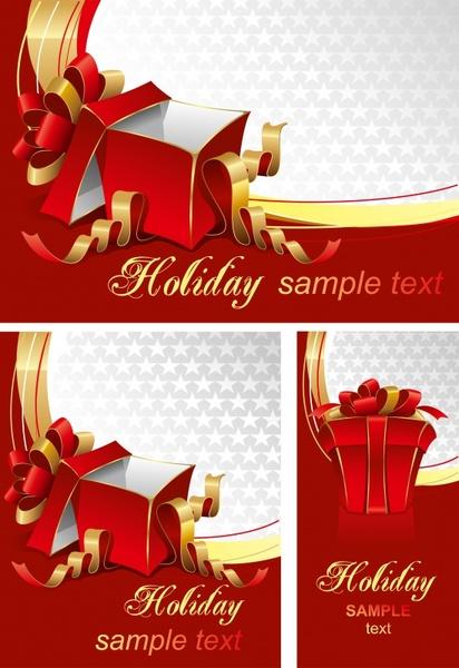 Gift card templates 3d box ribbon knot icons decor Free
