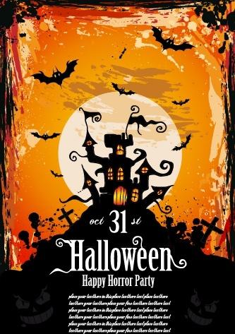 halloween banner classical dark grunge horror decor