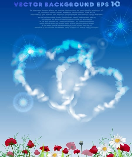 love background modern colorful hearts clouds floras decor