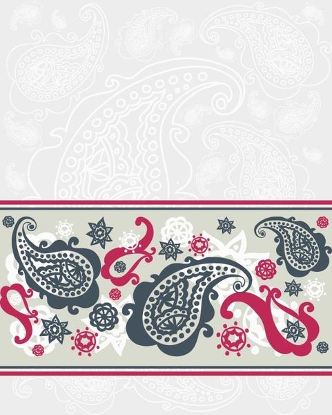 exquisite indian ham pattern 04 vector