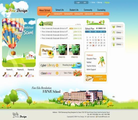 exquisite korean the psd format education website template 001