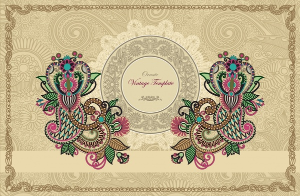exquisite lace pattern background vector ham