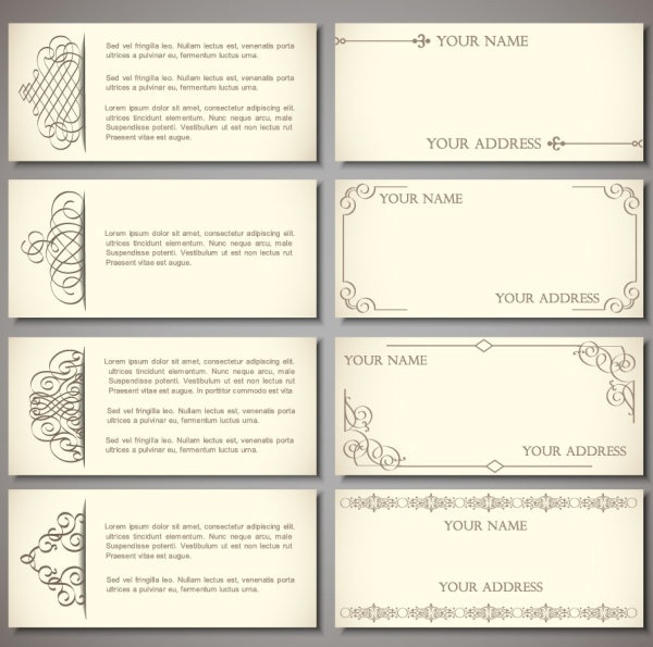 exquisite pattern edge business card template 01 vector