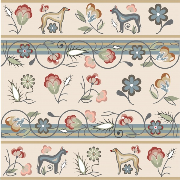 traditional pattern template colorful retro handdrawn plants animals