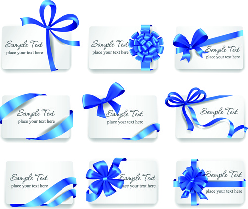 exquisite ribbon bow gift cards vector set