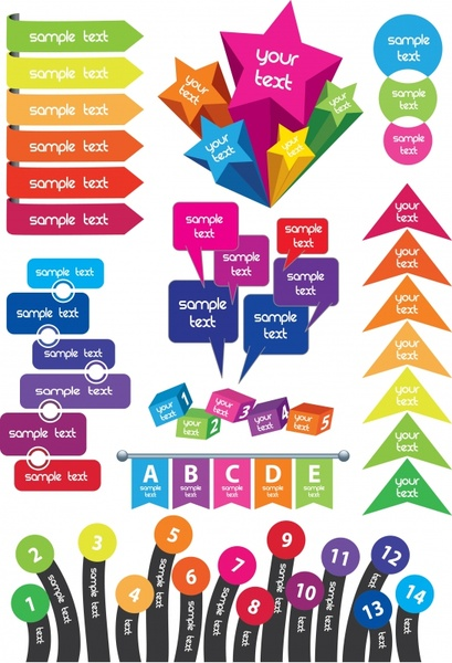infographic elements templates colorful modern flat 3d shapes