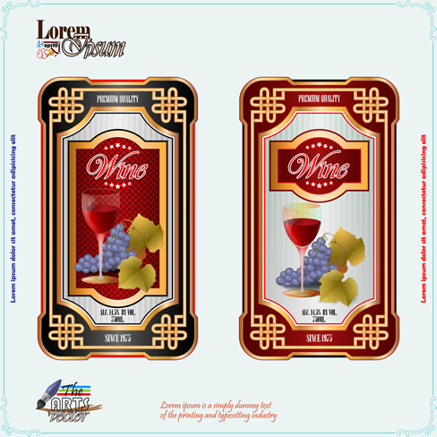Exquisite wine labels template vector design free vector in exquisite wine labels template vector design maxwellsz