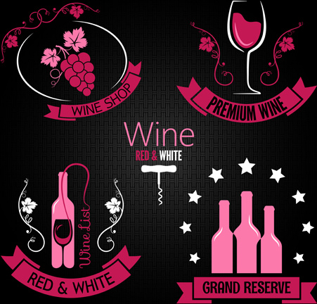 exquisite wine labels vector set