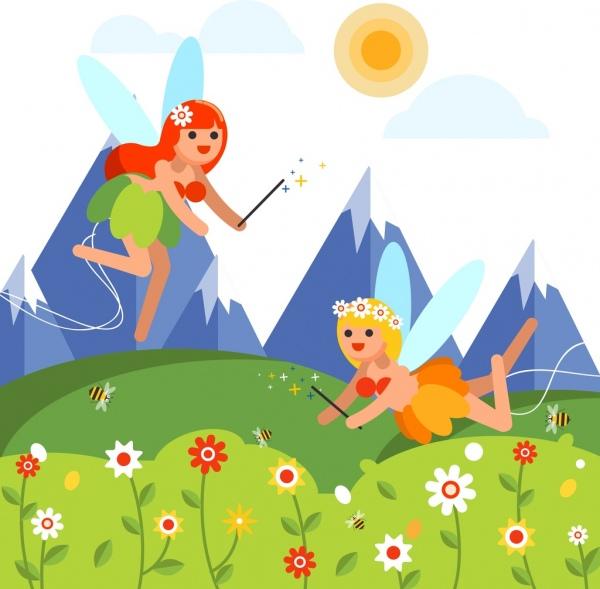 fairy background joyful girls icons colored cartoon design