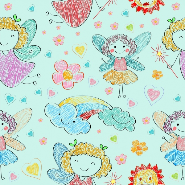 fairy drawing cute girl hearts icons colorful handdrawn