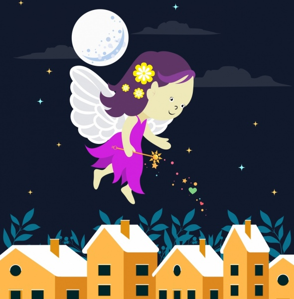 fairy drawing cute little winged girl icon