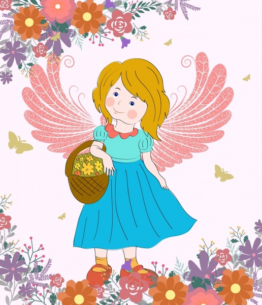 fairy drawing winged girl floral decor colored cartoon