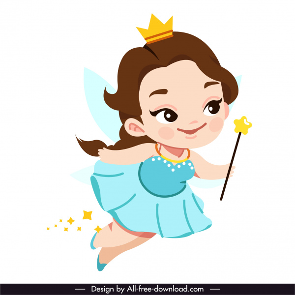 fairy icon flying girl sketch cute cartoon character