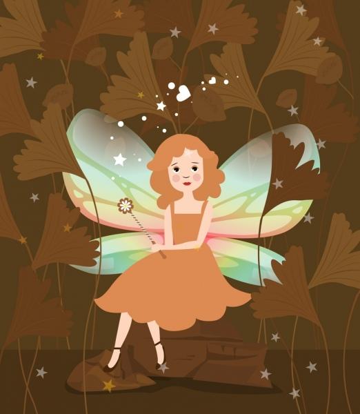 fairy painting beautiful winged girl icon cartoon character