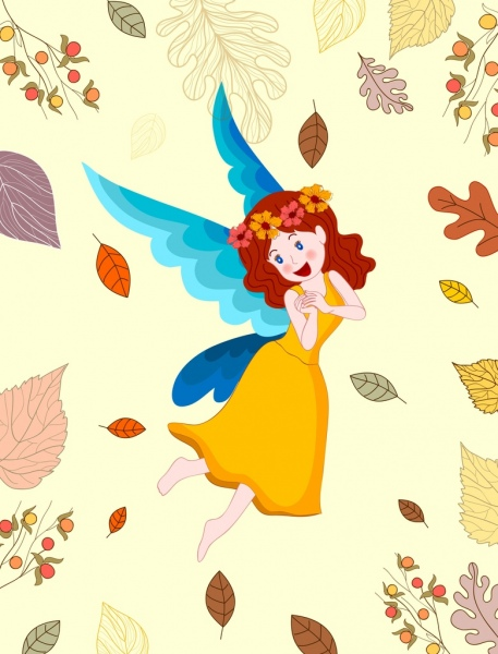 fairy painting cute girl icon colored cartoon design